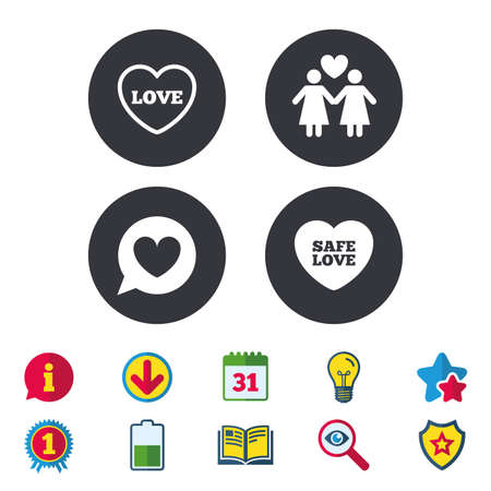Lesbians couple sign. Speech bubble with heart icon. Female love female. Heart symbol. Calendar, Information and Download signs. Stars, Award and Book icons. Light bulb, Shield and Search. Vector