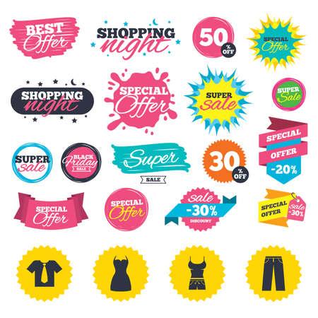 Verkauf einkaufen Banner. Kleidung-Icons. T-Shirt mit Business-Krawatte und Hosenzeichen. Frauen kleiden Symbol. Web-Abzeichen, Spritzer und Aufkleber. Bestes Angebot. Vektor Standard-Bild - 83637225