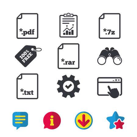 Download document icons. File extensions symbols. PDF, RAR, 7z and TXT signs. Browser window, Report and Service signs. Binoculars, Information and Download icons. Stars and Chat. Vector Illustration