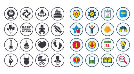 Set of Maternity, Pregnancy and Baby care icons. Video monitoring, Child and Pacifier signs. Footprint, Birthday cake and Newborn symbols. Calendar, Report and Book signs. Vector Stok Fotoğraf - 83637232