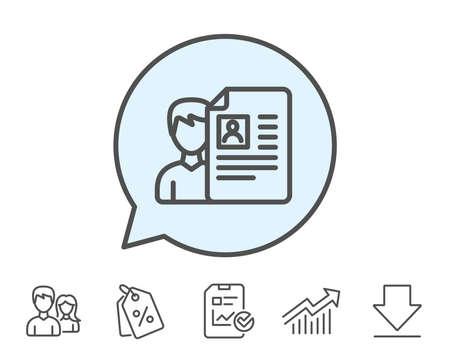 ビジネス募集ライン アイコン。履歴書ドキュメントまたはポートフォリオの符号。レポート、販売クーポン、グラフ線の標識。ダウンロード、アイ