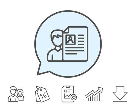 Business recruitment line icon. CV documents or Portfolio sign. Report, Sale Coupons and Chart line signs. Download, Group icons. Editable stroke. Vector