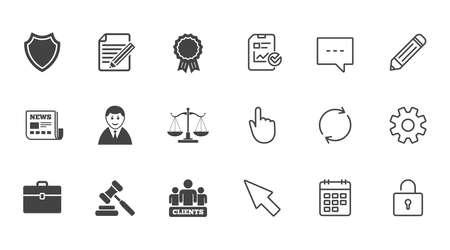 Advocaat, schalen van Justitie pictogrammen. Klanten, veilinghamer en rechtersymbolen. Krant, award en overeenkomst document tekenen. Chat, rapport en kalender lijntekens. Service-, potlood- en kastpictogrammen