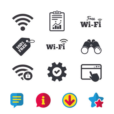 Free Wifi Wireless Network icons. Wi-fi zone locked symbols. Password protected Wi-fi sign. Browser window, Report and Service signs. Binoculars, Information and Download icons. Stars and Chat. Vector Illustration