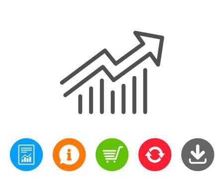 차트 라인 아이콘입니다. 보고서 그래프 또는 판매 성장 사인. 분석 및 통계 데이터 기호입니다. 보고서, 정보 및 새로 고침 줄 표지판. 쇼핑 카트 및 다 일러스트