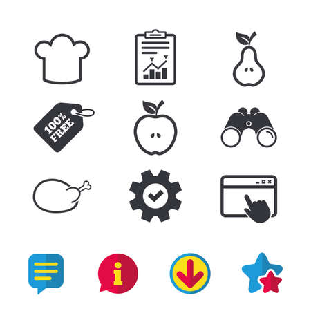 Food icons. Apple and Pear fruits with leaf symbol. Chicken hen bird meat sign. Chef hat icons. Browser window, Report and Service signs. Binoculars, Information and Download icons. Stars and Chat Illustration