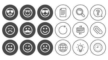 笑顔のアイコン。幸せ、悲しい、ウインク印に直面しています。サングラス、口ひげ、笑絵文字シンボルを笑っています。ドキュメント、グローブ