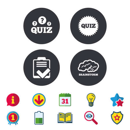 checklist: Quiz icons. Brainstorm or human think. Checklist symbol. Survey poll or questionnaire feedback form. Questions and answers game sign. Calendar, Information and Download signs. Vector Illustration