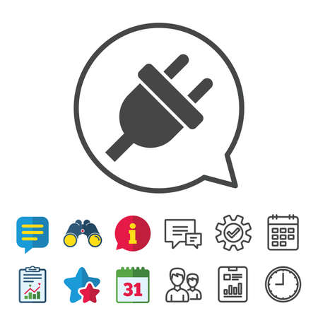 Electric plug sign icon. Power energy symbol. Information, Report and Calendar signs. Group, Service and Chat line icons. Vector