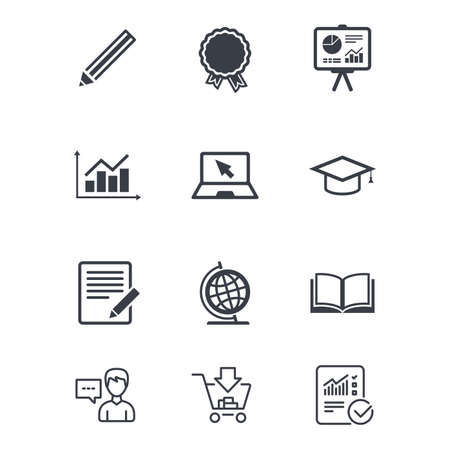 Education and study icon. Presentation signs. Report, analysis and award medal symbols. Customer service, Shopping cart and Report line signs. Online shopping and Statistics. Vector Illustration