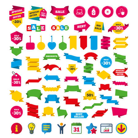 Notebook pc and Usb flash drive stick icons. Computer mouse and CD or DVD sign symbols. Shopping tags, banners and coupons signs. Calendar, Information and Download icons. Stars, Statistics and Chat Illustration