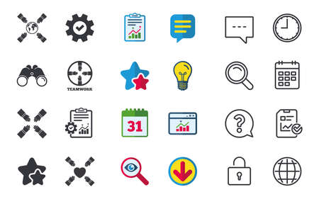 calendar icon: Teamwork icons. Helping Hands with globe and heart symbols. Group of employees working together. Chat, Report and Calendar signs. Stars, Statistics and Download icons. Question, Clock and Globe