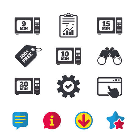 Microwave oven icons. Cook in electric stove symbols. Heat 9, 10, 15 and 20 minutes signs. Browser window, Report and Service signs. Binoculars, Information and Download icons. Stars and Chat. Vector