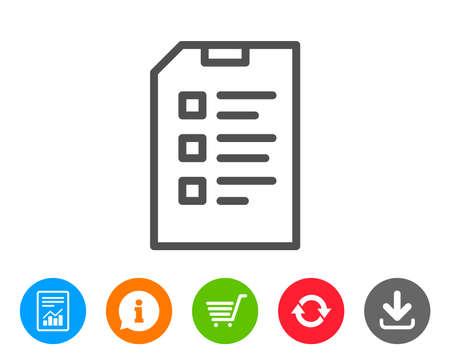 Checkliste Dokument Liniensymbol. Informationsdatei Zeichen. Papier Seite Konzept Symbol. Berichts-, Informations- und Refresh-Linienschilder. Einkaufswagen und Download-Symbole. Bearbeitbarer Strich. Vektor Standard-Bild - 83636901