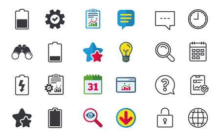 Battery charging icons. Electricity signs symbols. Charge levels: full, half and low. Chat, Report and Calendar signs. Stars, Statistics and Download icons. Question, Clock and Globe. Vector Stock fotó - 83680053