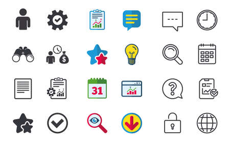 Bank loans icons. Cash money bag symbol. Apply for credit sign. Check or Tick mark. Chat, Report and Calendar signs. Stars, Statistics and Download icons. Question, Clock and Globe. Vector Illustration