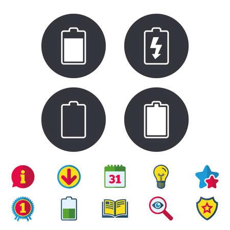 배터리 충전 아이콘입니다. 전기 기호입니다. 충전 수준 : 전체, 비어 있습니다. 달력, 정보 및 다운로드 표지판. 별, 수상 및 책 아이콘. 전구, 방패 및  일러스트