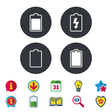 Battery charging icons. Electricity signs symbols. Charge levels: full, empty. Calendar, Information and Download signs. Stars, Award and Book icons. Light bulb, Shield and Search. Vector Illusztráció