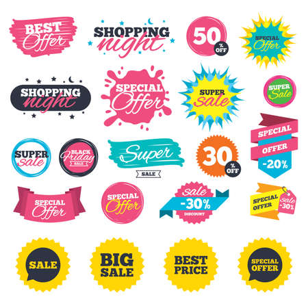Sale shopping banners. Sale icons. Special offer speech bubbles symbols. Big sale and best price shopping signs. Web badges, splash and stickers. Best offer. Vector Ilustração