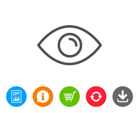 Eye line icon. Look or Optical Vision sign. View or Watch symbol. Report, Information and Refresh line signs. Shopping cart and Download icons. Editable stroke. Vector