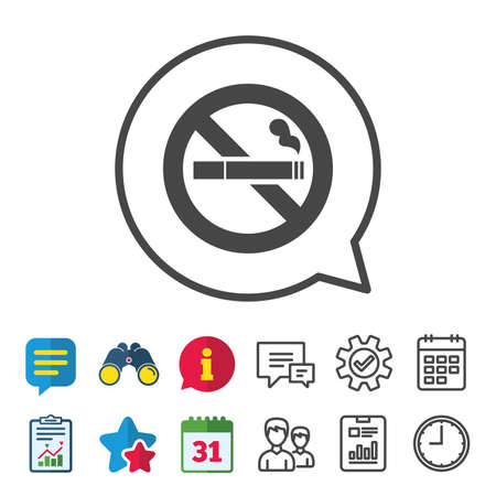 calendar icon: No Smoking sign icon. Cigarette symbol. Information, Report and Calendar signs. Group, Service and Chat line icons. Vector Illustration