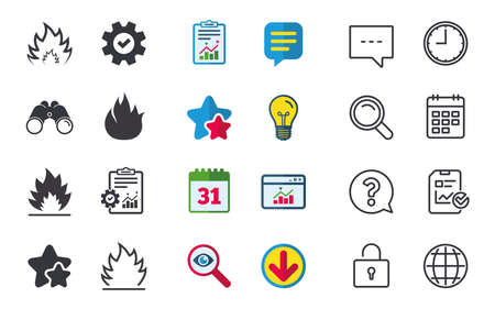Fire flame icons. Heat symbols. Inflammable signs. Chat, Report and Calendar signs. Stars, Statistics and Download icons. Question, Clock and Globe. Vector Banco de Imagens - 83636950
