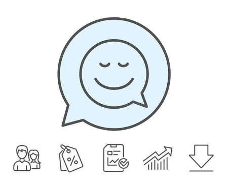 笑顔線アイコン漫画吹き出し。チャット感情のサイン。レポート、販売クーポン、グラフ線の標識。ダウンロード、アイコンをグループ化します。  イラスト・ベクター素材