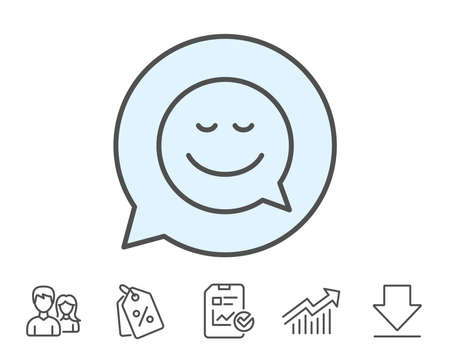 Comic speech bubble with Smile line icon. Chat emotion sign. Report, Sale Coupons and Chart line signs. Download, Group icons. Editable stroke. Vector Illustration