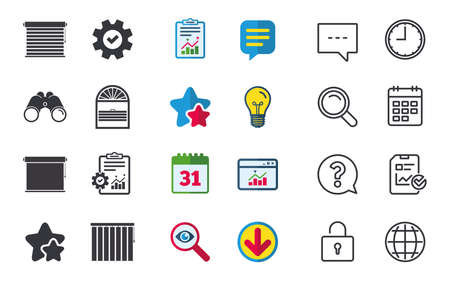 Louvers icons. Plisse, rolls, vertical and horizontal. Window blinds or jalousie symbols. Chat, Report and Calendar signs. Stars, Statistics and Download icons. Question, Clock and Globe. Vector