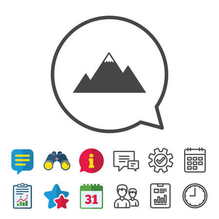 Mountain icon. Mountaineering sport sign. Leadership motivation concept. Information, Report and Calendar signs. Group, Service and Chat line icons. Vector Illustration