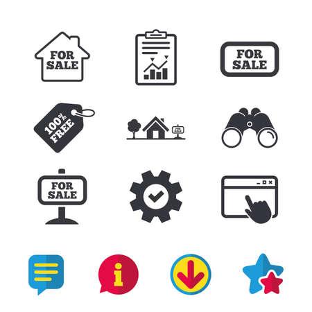Te koop pictogrammen. Onroerend goed verkoopborden. Huis huis symbool. Browservenster, rapport en serviceborden. Verrekijker, informatie en download pictogrammen. Sterren en chatten. Vector Stockfoto - 83636962