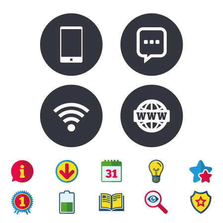calendar icon: Communication icons. Smartphone and chat speech bubble symbols. Wifi and internet globe signs. Calendar, Information and Download signs. Stars, Award and Book icons. Light bulb, Shield and Search