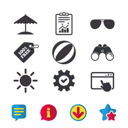 Beach holidays icons. Ball, umbrella and sunglasses signs. Summer sun symbol. Browser window, Report and Service signs. Binoculars, Information and Download icons. Stars and Chat. Vector Illustration
