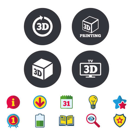 3d tv technology icons. Printer, rotation arrow sign symbols. Print cube. Calendar, Information and Download signs. Stars, Award and Book icons. Light bulb, Shield and Search. Vector