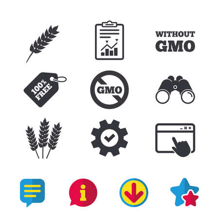 Agricultural icons. Gluten free or No gluten signs. Without Genetically modified food symbols. Browser window, Report and Service signs. Binoculars, Information and Download icons. Stars and Chat