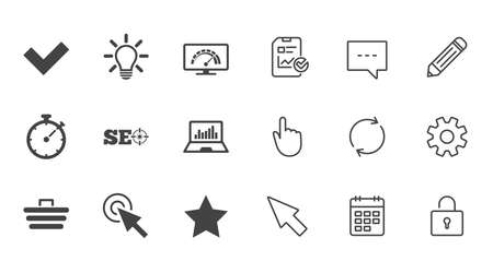 Internet, seo icons. Bandwidth speed, online shopping and tick signs. Favorite star, notebook chart symbols. Chat, Report and Calendar line signs. Service, Pencil and Locker icons. Vector