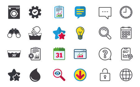 Hand wash icon. Machine washable at 30 degrees symbols. Laundry washhouse and water drop signs. Chat, Report and Calendar signs. Stars, Statistics and Download icons. Question, Clock and Globe. Vector Illustration