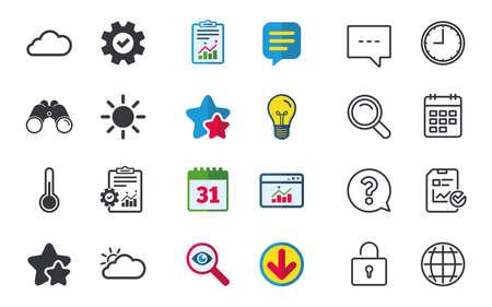 날씨 아이콘입니다. 구름과 태양이 표지판. 온도계 온도 기호입니다. 채팅, 신고 및 캘린더 표지판. 별, 통계 및 다운로드 아이콘. 질문, 시계 및 글로브 일러스트