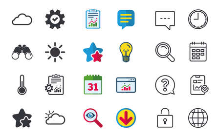 Weather icons. Cloud and sun signs. Thermometer temperature symbol. Chat, Report and Calendar signs. Stars, Statistics and Download icons. Question, Clock and Globe. Vector