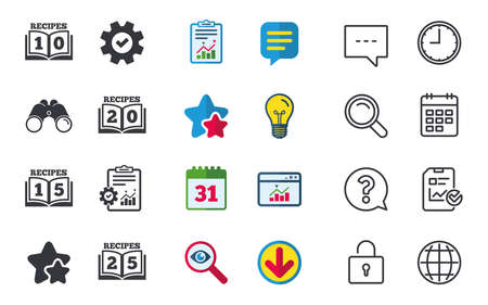 Cookbook icons. 10, 15, 20 and 25 recipes book sign symbols. Chat, Report and Calendar signs. Stars, Statistics and Download icons. Question, Clock and Globe. Vector