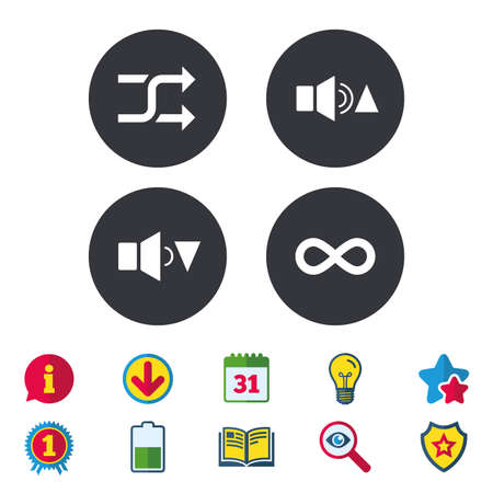 Player control icons. Sound louder and quieter signs. Dynamic symbol. Shuffle random and repeat loop. Calendar, Information and Download signs. Stars, Award and Book icons. Vector Illustration