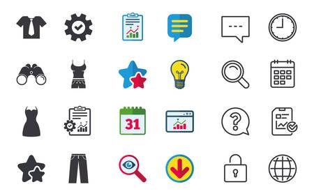 Kleren pictogrammen. T-shirt met zakelijke stropdassen en broekborden. Vrouwen kleden symbool. Chat-, rapport- en kalenderborden. Sterren, Statistieken en Download pictogrammen. Vraag, klok en wereld. Vector Stockfoto - 83731936