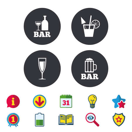 Bar or Pub icons. Glass of beer and champagne signs. Alcohol drinks and cocktail symbols. Calendar, Information and Download signs. Stars, Award and Book icons. Light bulb, Shield and Search. Vector