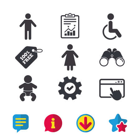 WC toilet icons. Human male or female signs. Baby infant or toddler. Disabled handicapped invalid symbol. Browser window, Report and Service signs. Binoculars, Information and Download icons. Vector Иллюстрация