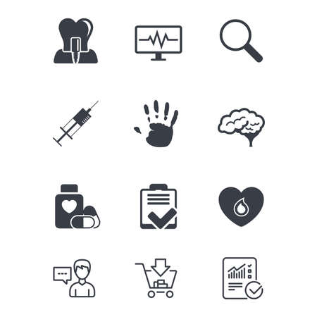 Medicine, medical health and diagnosis icons. Blood, syringe injection and neurology signs. Tooth implant, magnifier symbols. Customer service, Shopping cart and Report line signs. Vector Ilustrace