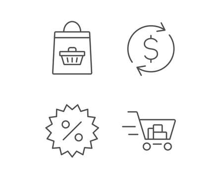 Shopping cart, Discount and Dollar line icons. Update currency sign. Quality design elements. Editable stroke. Vector Illustration