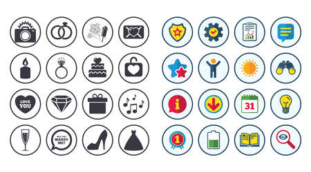 Set of Wedding and Engagement icons. Cake with heart, Gift box and Letter signs. Dress, Fireworks and Musical notes symbols. Calendar, Report and Book signs. Stars, Service and Download icons. Vector Illustration