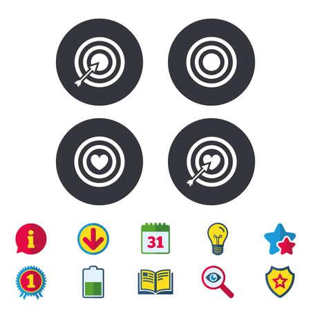 Iconos objetivo objetivo. Tablero de dardos con símbolos de signos de corazón y flecha. Calendario, información y signos de descarga. Iconos de estrellas, premios y libros. Bombilla, escudo y búsqueda. Vector