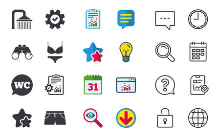 calendar icon: Swimming pool icons. Shower water drops and swimwear symbols. WC Toilet speech bubble sign. Trunks and women underwear. Chat, Report and Calendar signs. Stars, Statistics and Download icons. Vector