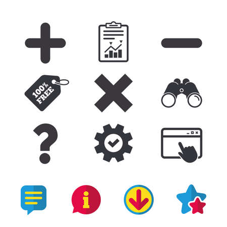 Plus and minus icons. Delete and question FAQ mark signs. Enlarge zoom symbol. Browser window, Report and Service signs. Binoculars, Information and Download icons. Stars and Chat. Vector Çizim